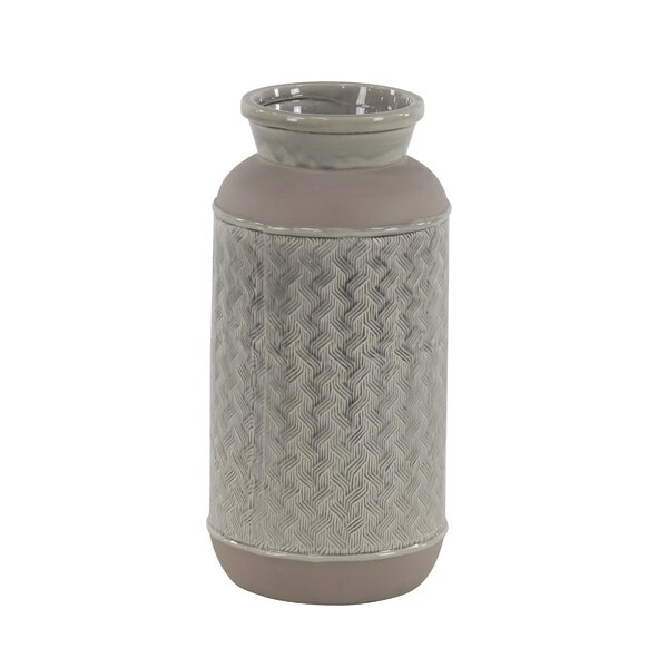 Hempstead Modern Cylindrical Stoneware Table Vase by Bay Isle Home
