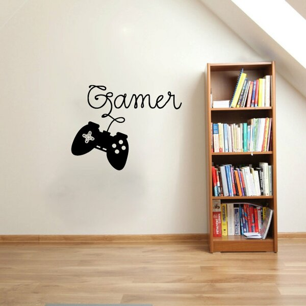 Hobbes Gamer Video Game Controller Silhouette Vinyl Graphic Word Wall Decal by Zoomie Kids