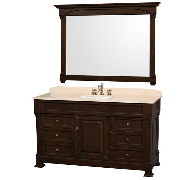 Andover 60 Single Dark Cherry Bathroom Vanity Set with Mirror by Wyndham Collection