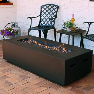 Affordable Price Huff Concrete Propane Fire Pit Table with Lava Rocks By Brayden Studio