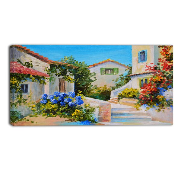 Houses near Sea Landscape Painting Print on Wrapped Canvas by Design Art