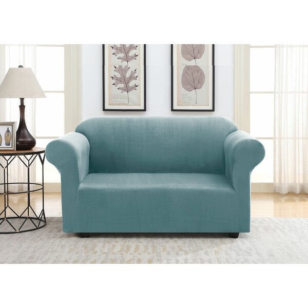 Solid Suede Box Cushion Loveseat Slipcover By Winston Porter