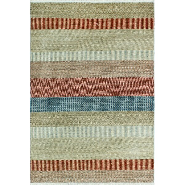 One-of-a-Kind Sempronius Fine Grass Muminah Hand-knotted Wool Beige/Red Area Rug by Bungalow Rose