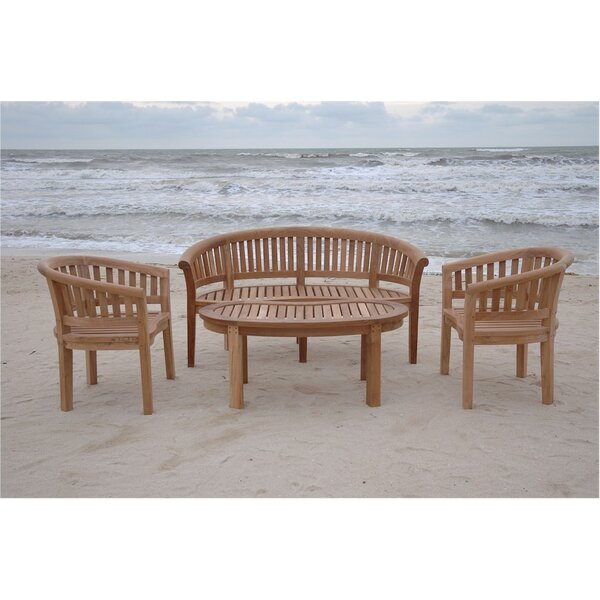 Curve Kidney 4 Piece Teak Sofa Seating Group by Anderson Teak