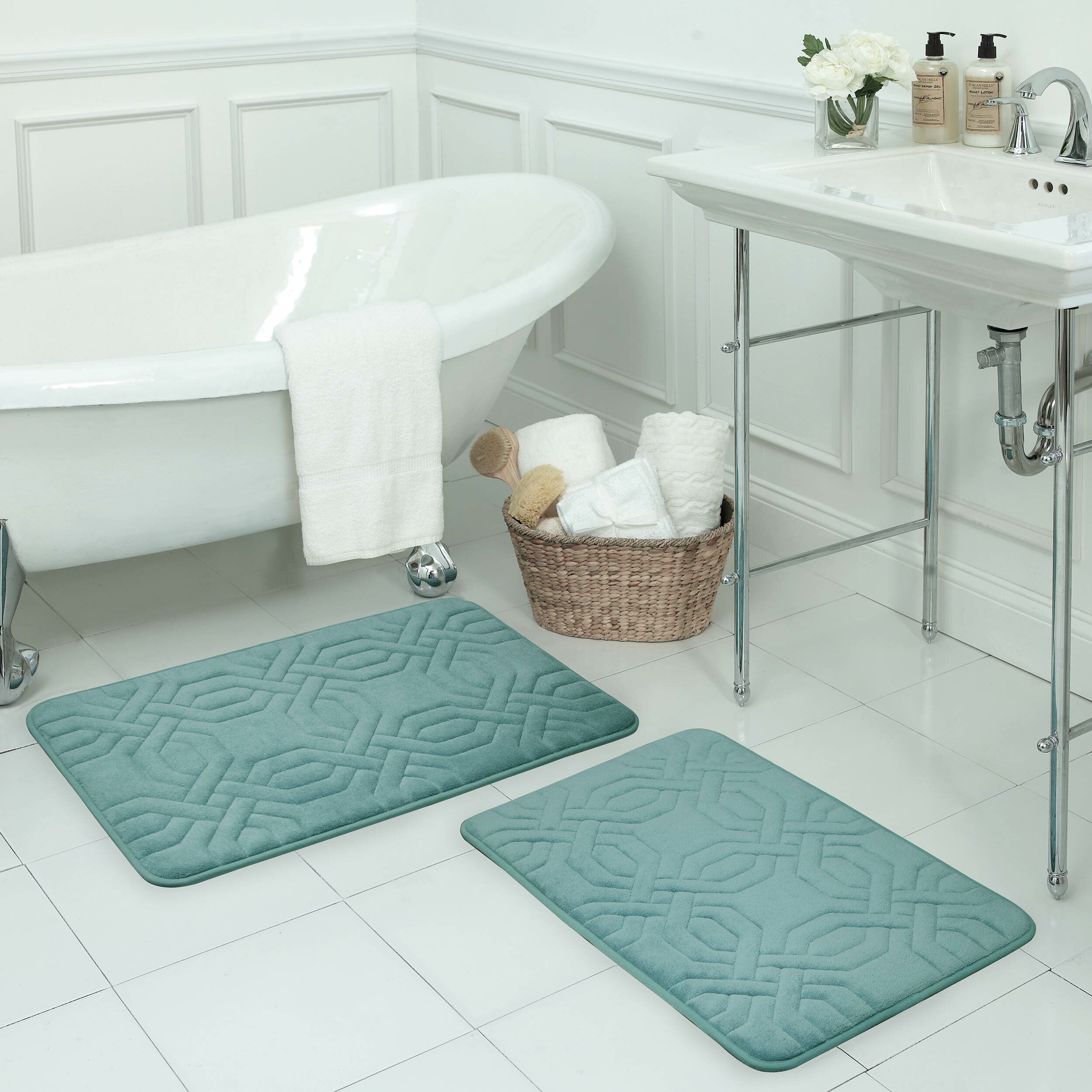 Ernie Small Premium Micro Plush Memory Foam 6 Piece Bath Rug Set