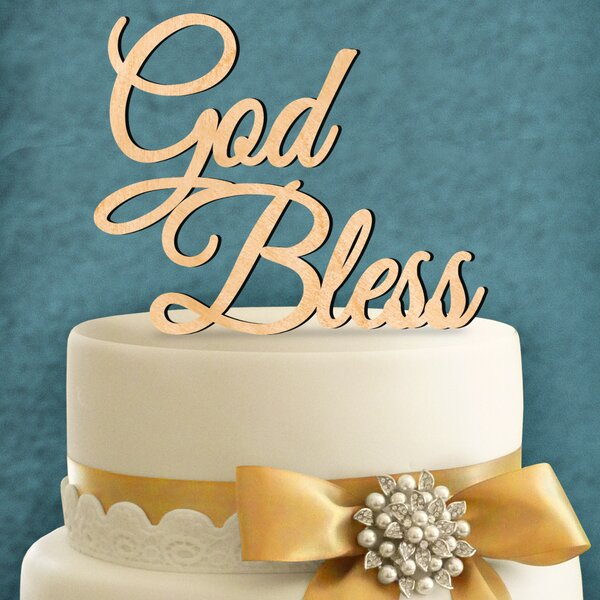 God Bless Wooden Cake Topper by aMonogram Art Unlimited