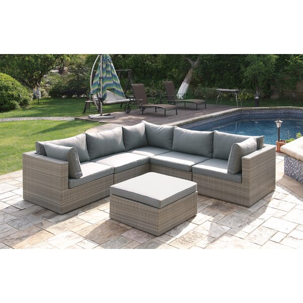 6 Piece Rattan Sectional Seating Group with Cushions by JB Patio