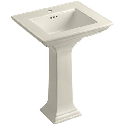 Pedestal Sink Ceramic Overflow Sink Faucet Mount Single photo