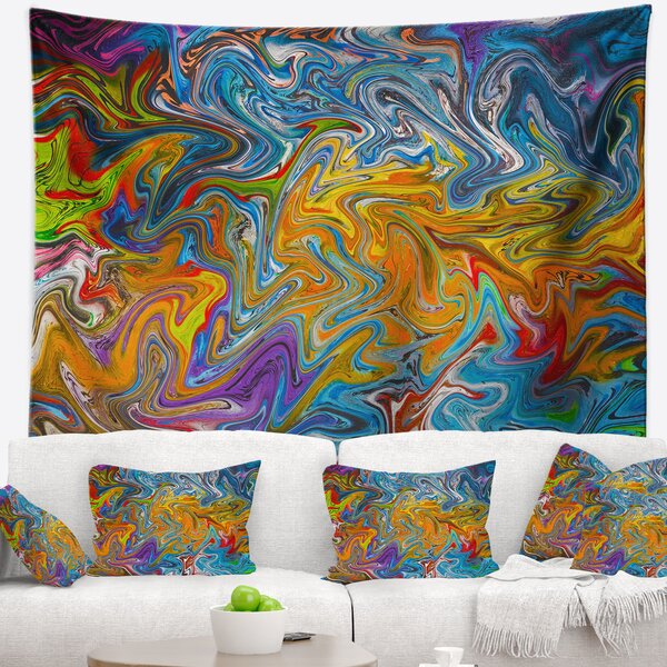 Fractal Flowing Colors Tapestry by East Urban Home