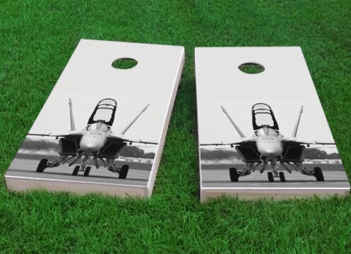 F-18 Hornet Fighter Jet Cornhole Game (Set of 2) by Custom Cornhole Boards