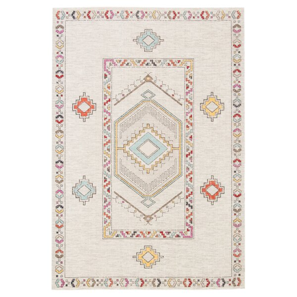 Old Lyme Medallion Ivory Indoor/Outdoor Area Rug by Bungalow Rose
