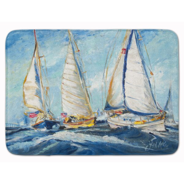 Dorinda Roll Me Over Sailboat Memory Foam Bath Rug