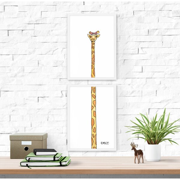 2 Piece Tallest Baby Giraffe Personalized Paper Print Set by Dilemma Posters