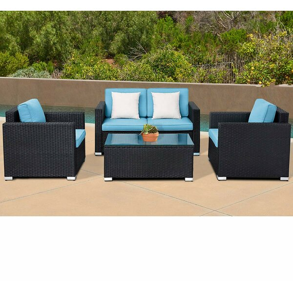 Rooks Outdoor 4-Piece Rattan Black Wicker  W/ Coffee Table Cushions by Winston Porter