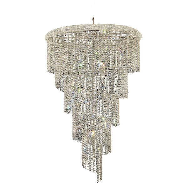 Mathilde 29 - Light Unique / Statement Tiered Chandelier  With Crystal Accents By Everly Quinn