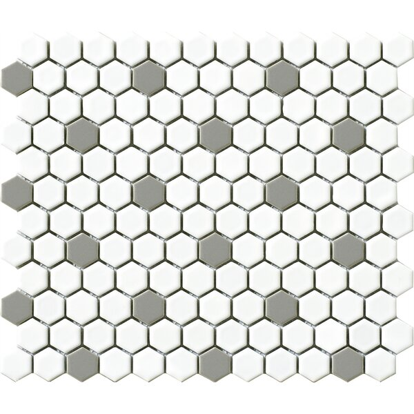 Vintage .75 x .75 Porcelain Mosaic Tile in Gray/White Hexagon by Walkon Tile