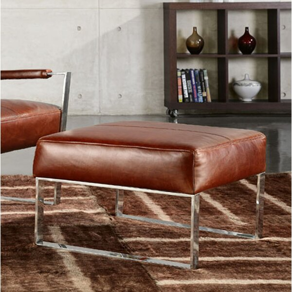Bremmer Leather Ottoman by Brayden Studio