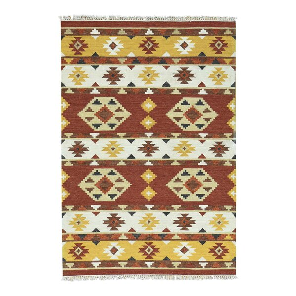Anatolian Kilim Flat Weave Hand-Knotted Beige/Honey Brown/Rust Area Rug by Bloomsbury Market