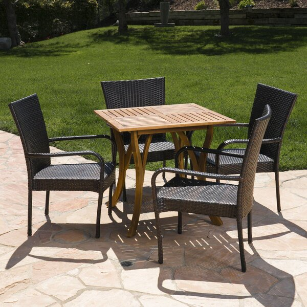 Fairmont Outdoor Acacia Wood/Wicker 5 Piece Dining Set by Bay Isle Home