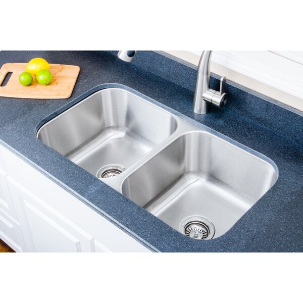 Craftsmen Series 36 L x 18.13 W Double Basin Undermount Kitchen Sink with Sink Grid and Basket Strainer by Wells Sinkware