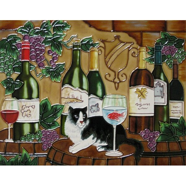 11 x 14 Ceramic Wine with a Cat Decorative Mural Tile by Continental Art Center