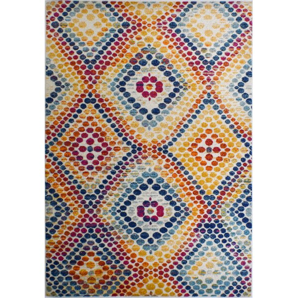 Michaela Dot Yellow/Blue Area Rug by Bungalow Rose