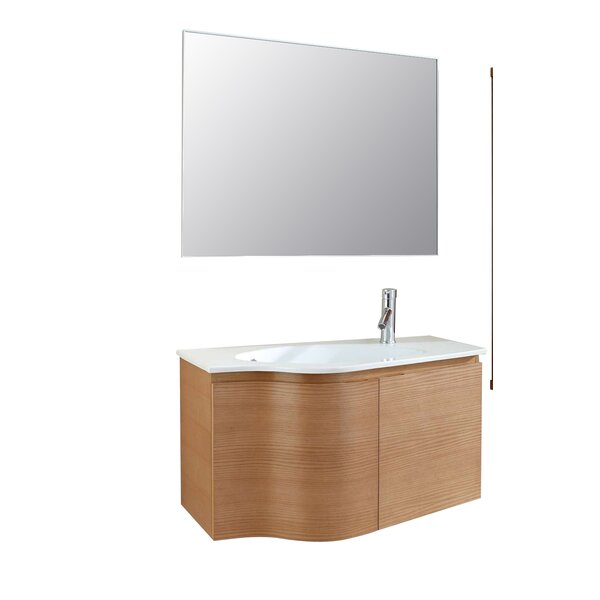 Allison 35 Single Floating Bathroom Vanity Set with Mirror by Langley Street