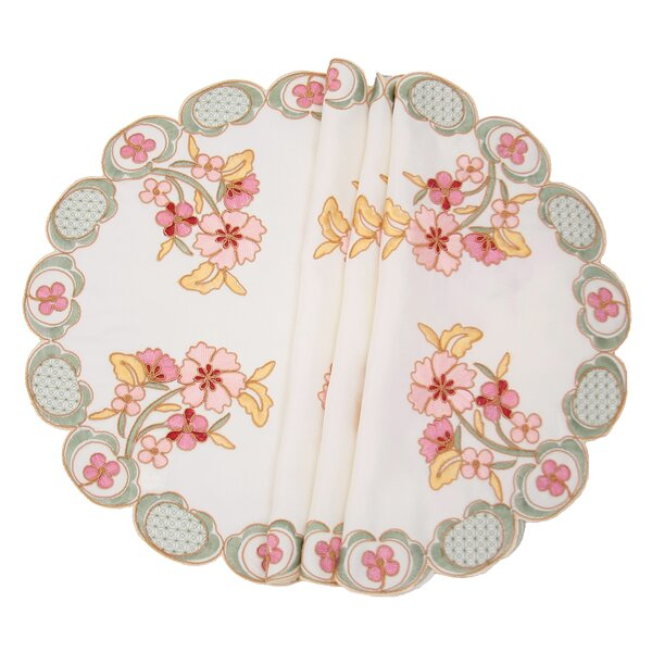 Primrose Embroidered Cutwork Round Placemat (Set of 4) by Manor Luxe