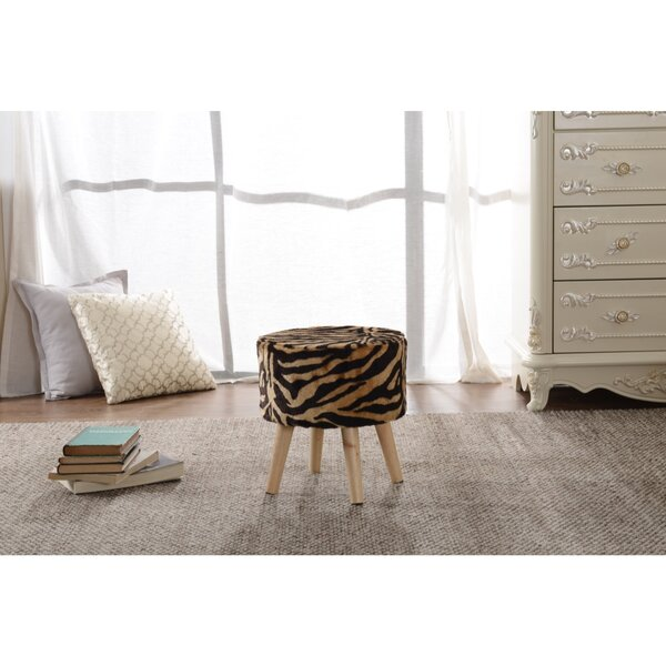 Baden Tiger Print Ottoman by World Menagerie