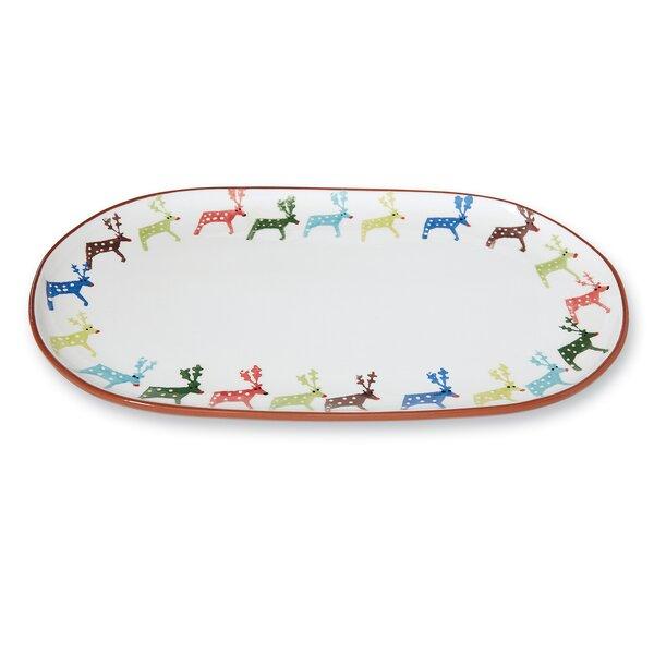 Christmas Reindeer Water-Color Oval Platter by Mud Pie™