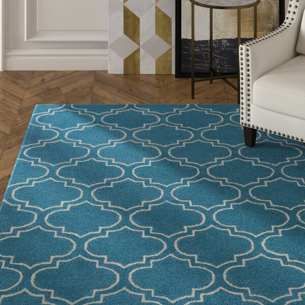 Shandi Hand-Tufted Teal Area Rug by Mercer41