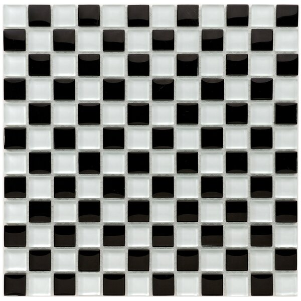 Sierra 0.88 x 0.88 Glass and Natural Stone Mosaic Tile in Black/White by EliteTile