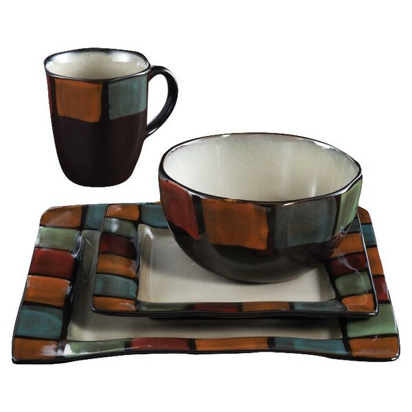 Hopscotch 16-Piece Dinnerware Set, Service for 4 by Design Guild