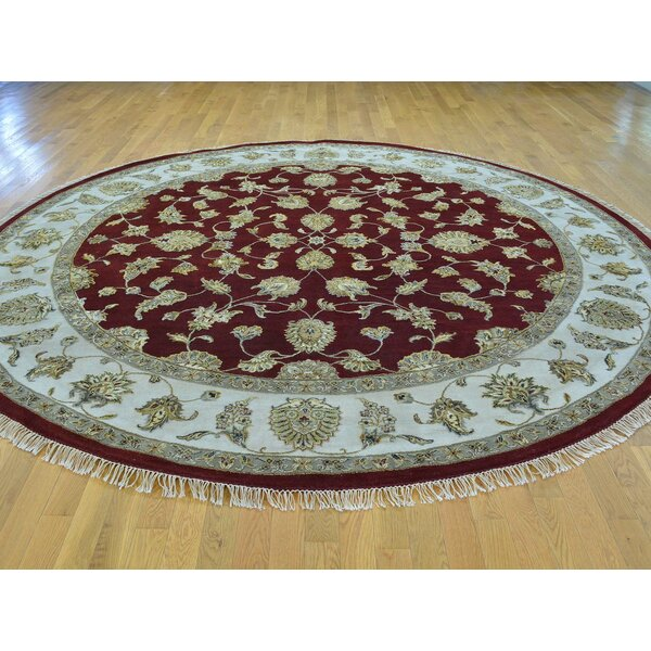 One-of-a-Kind Bear Burgundy Handwoven Red Wool/Silk Area Rug by Isabelline