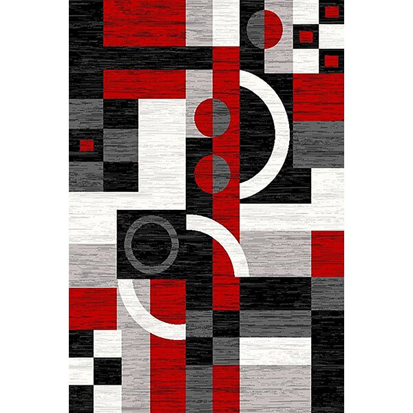 Cossey Red/Black Area Rug by Ebern Designs