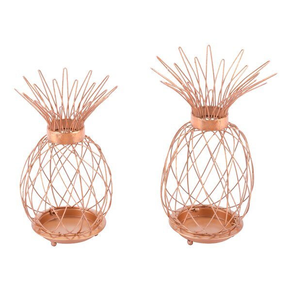 Pineapple 2 Piece Metal Lantern Set by Bayou Breeze