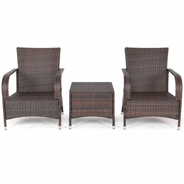 Adda 3 Piece Rattan 2 Person Seating Group with Cushions by Zipcode Design