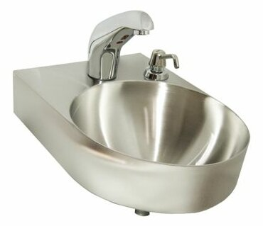 Metal 14 Wall Mount Bathroom Sink with Faucet by Just Manufacturing