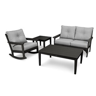 Vineyard Deep Seating 4 Piece Conversation Set with Cushions by POLYWOOD?