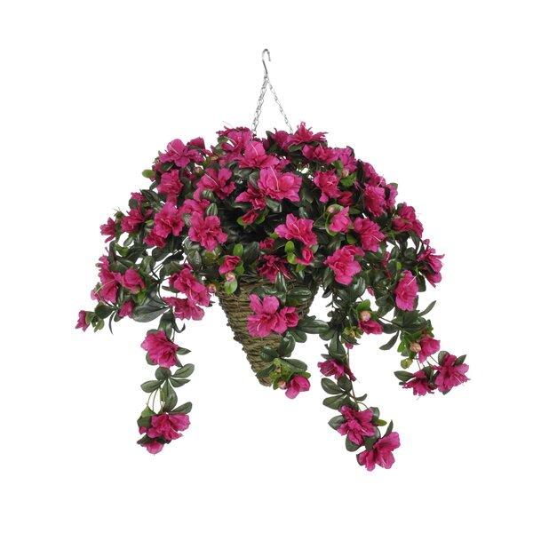 Faux Azalea Floral Arrangement in Beehive Planter by Charlton Home