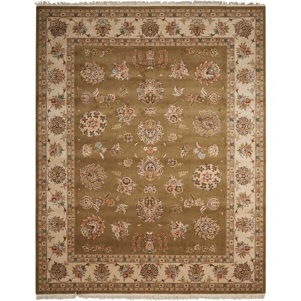 Dunluce Hand-Knotted Wool Olive Area Rug by Canora Grey