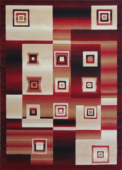Red/Black Area Rug by Rug Tycoon