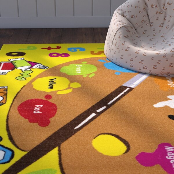 Angelina Yellow Area Rug by Zoomie Kids