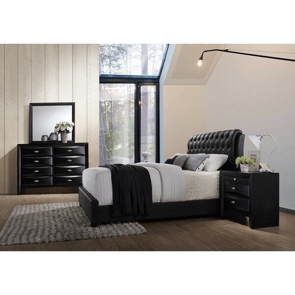 Mateus Wood Bonded Leather Standard 6 Piece Bedroom Set by Wrought Studio