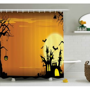 Halloween Decor Haunted House In Yellow Shower Curtain