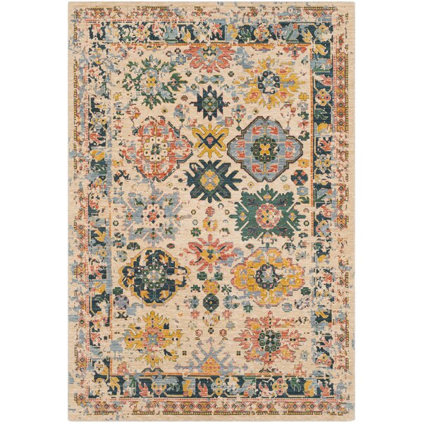 Rand Distressed Vintage Teal/Yellow Area Rug by Bungalow Rose