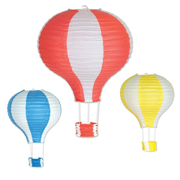 3 Piece Hot Air Balloon Paper Lantern Lamp Set (Set of 2) by The Holiday Aisle