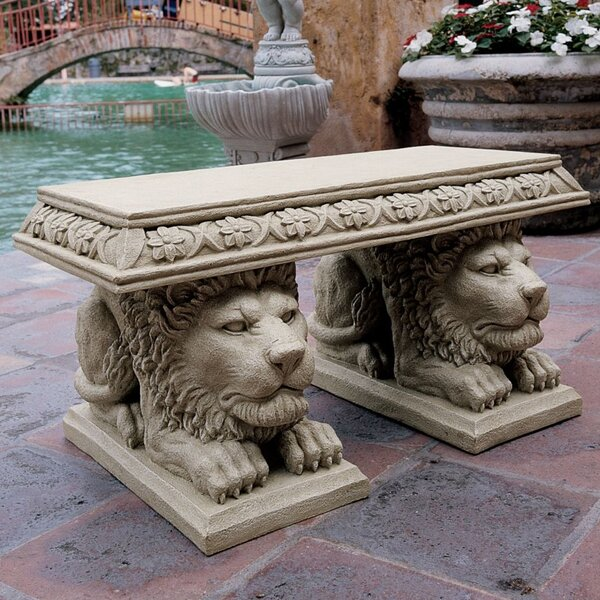 Grand Lion of St. Johns Square Stone Garden Bench by Design Toscano