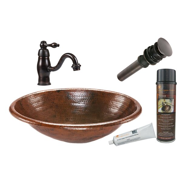 Metal Oval Drop-In Bathroom Sink with Faucet by Premier Copper Products