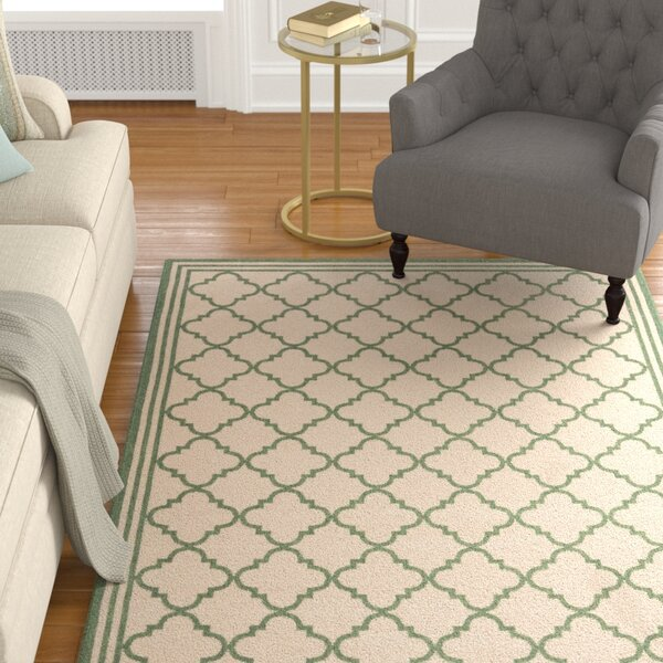 Berardi Cream/Green Area Rug by Darby Home Co